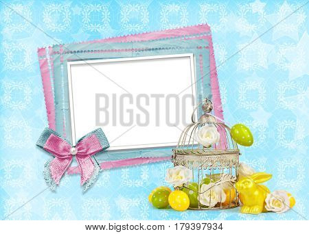 Easter Eggs And Funny Bunny With Frame On   Blue Background