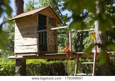 Wooden play house built in a tree