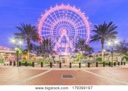 ORLANDO, FLORIDA, USA - JANUARY 05, 2017: The Orlando Eye on International Drive The orlando eye is a 400 feet tall ferris wheel in the heart of Orlando and the largest observation wheel on the east coast United States
