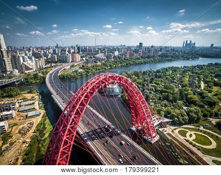 MOSCOW, RUSSIA - AUGUST 6, 2016: Aerial view of Moscow with modern cable-stayed bridge.