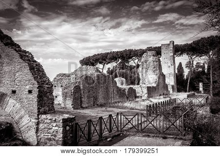 ROME, ITALY - OCTOBER 1, 2012: Ruins of the ancient palace on the Palatine Hill near the Roman Forum in Rome.
