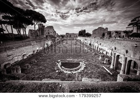 ROME, ITALY - OCTOBER 1, 2012: Ruins of the ancient Stadium of Domitian on the Palatine Hill near the Roman Forum in Rome.