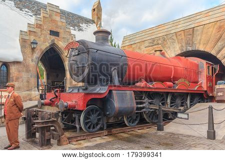 ORLANDO, USA - JANUARY 05, 2017: The Hogwarts Express at The Wizarding World Of Harry Potter Potter at Universal Studios Orlando. Universal Studios Orlando is a theme park in Orlando Florida USA.
