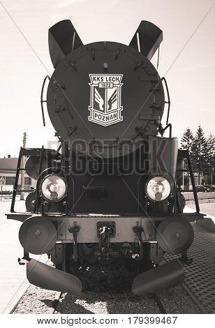 Poland, Poznań -march 26, 2017. Steam Locomotive With Logo Lech Poznan.