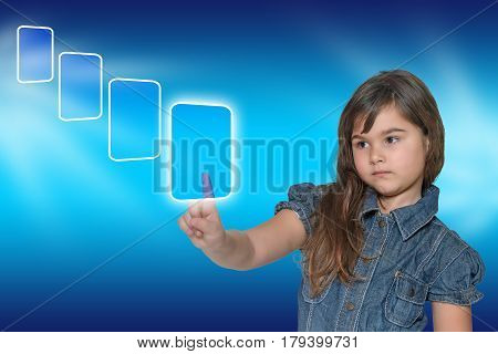 Pensive little girl is touching the transparent rectangle touchscreen empty and ready for your text. All is on on the blue gradient background with another empty rectangles in perspective.