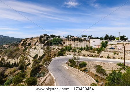 Scenic mountain road in Kefalos village, Kos island, Dodecanese, Greece