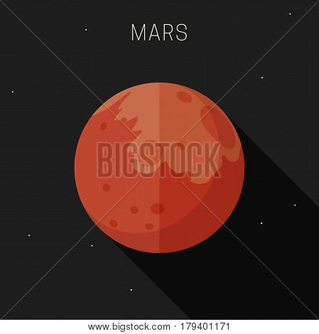 Mars planet in flat style with long shadow. Vector simple illustration of solar system with mars.
