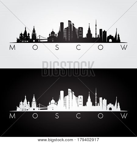 Moscow skyline and landmarks silhouette black and white design vector illustration.