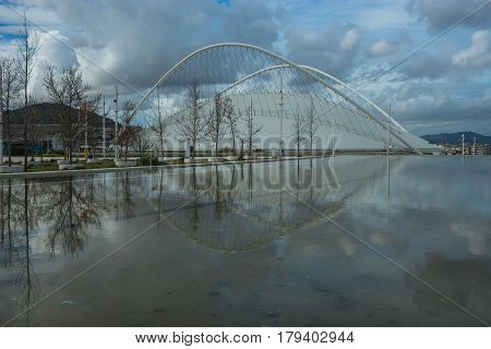 Olimpic Complex In Athens With Reflections In The Lake