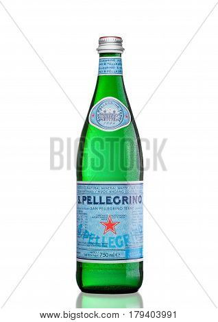 London,uk - March 30, 2017 : Bottle Of San Pellegrino Mineral Water On White. San Pellegrino Is An I