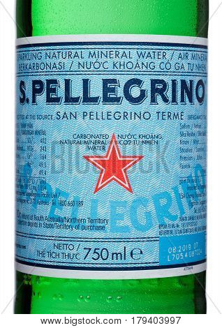 London,uk - March 30, 2017 : Bottle Label Of San Pellegrino Mineral Water On White. San Pellegrino I