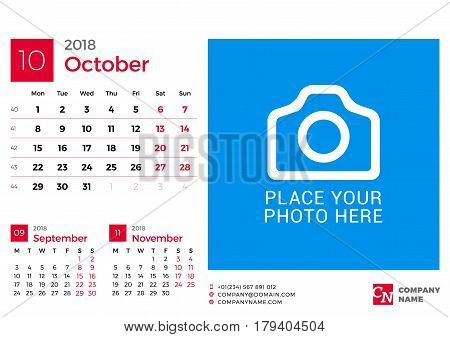 Calendar For 2018 Year. Vector Design Print Template With Place For Photo And Company Logo. October