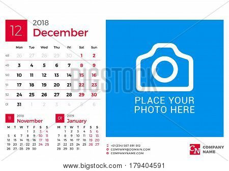 Calendar For 2018 Year. Vector Design Print Template With Place For Photo And Company Logo. December