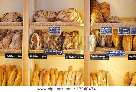 Freshly Baked Breads In French Bakery
