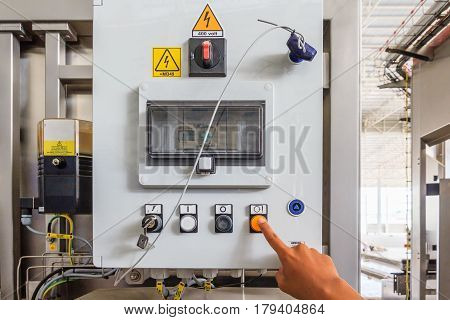 industrial switching buttons on control panel for control machine