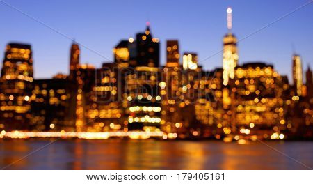Bokeh Photo Of Manhattan Skyline