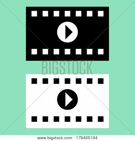 Black And White Cinematographic Ribbon Icon.