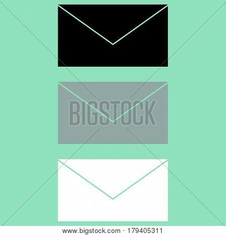 Letter Icon Black Grey White.
