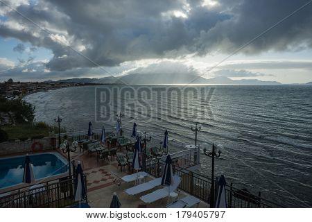 Cloudscape over calm sea, Zakinthos island, Greece