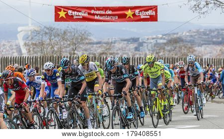 Barcelona Spain - March27 2016: The Spanish cyclist Alberto Contador of Team Tinkoff riding in the peloton on the road to the top of Montjuic in Bracelona Spain during Volta Ciclista a Catalunya on March 27 2016.