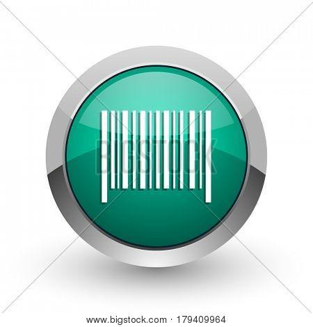 Barcode silver metallic chrome web design green round internet icon with shadow on white background.