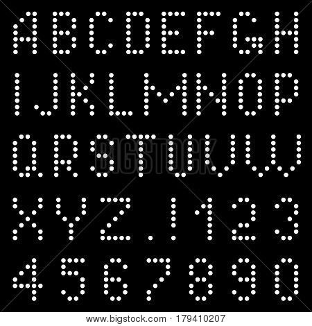 Letters and numbers of dots on a black background.