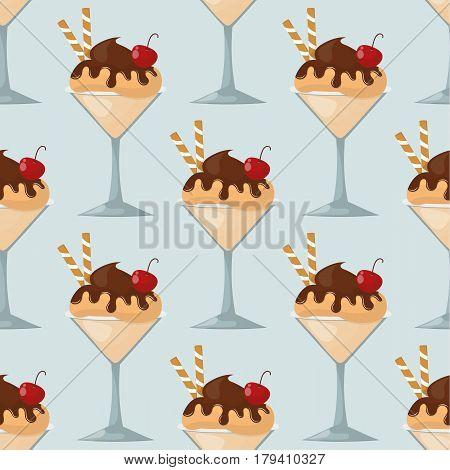 Sweet cartoon cold ice cream seamless pattern. Tasty cartoon frozen ice cream vector delicious background. ice cartoon colorful ice-cream desserts. Chocolate and milk icecream vector illustration