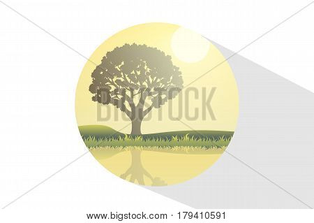 Icon Nature At Noon. Outdoor Design Concept. Beautiful Landscape. Feel The Nature.