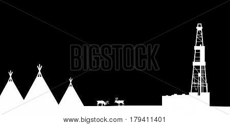 Silhouettes of the northern landscape. Vector illustration.