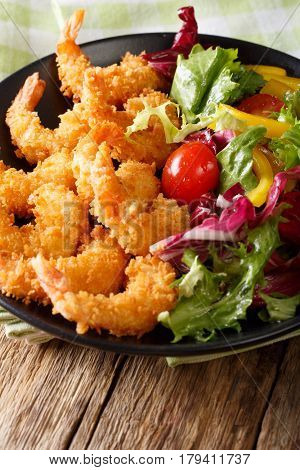 Japanese Cuisine - Tempura Shrimps (deep Fried Shrimps) With Vegetables. Vertical