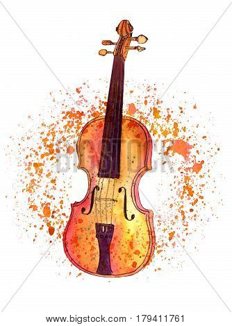 A watercolour and ink drawing of a violin with splashes of golden paint and copy space