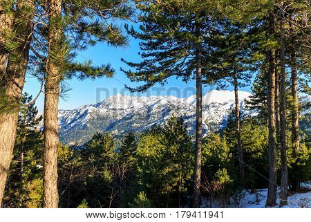 mount Taygetos covered by snow, Peloponnese, Greece