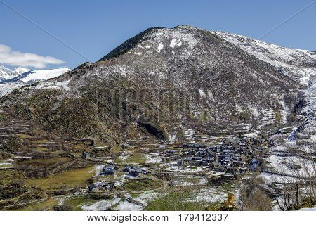 Village of Durro at the foot of the Catalan Pyrenees Spain