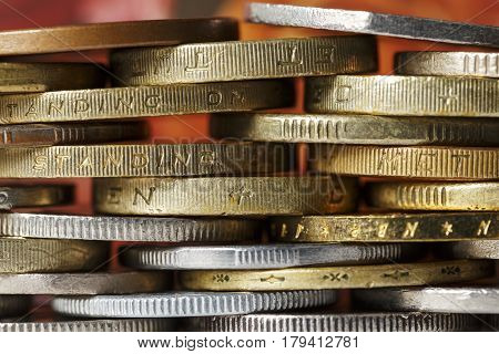 Coins are the background for considerations of a business