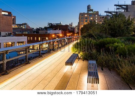 The Highline at twilight in summer. The aerial greenway also called High Line or High Line Park is an oasis in the heart of the West Village (Meatpacking District - Gansevoort Market) Manhattan New York City