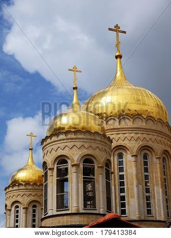 Three gold domes of Orthodox Basilica convent in Ein Kerem near Jerusalem Israel