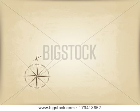 old map on parchment. vector. drawing compass with the edge