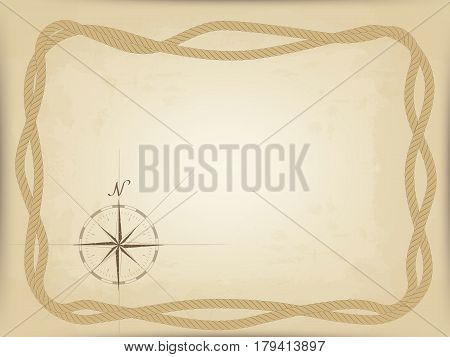 old map on parchment. vector. compass graphic from the edge. frame of interwoven ropes