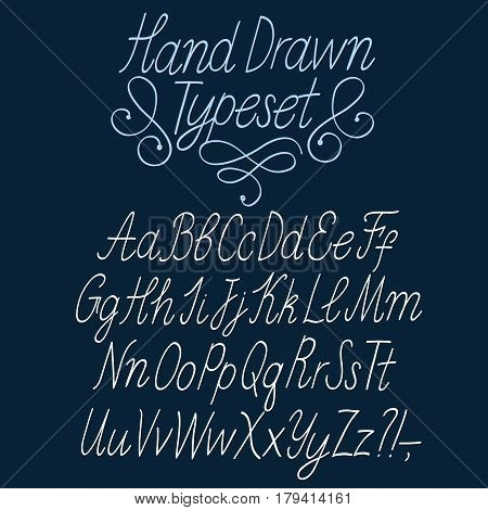 Hand drawn thin elegant calligraphy vector ABC letters. Beautiful font for your design.