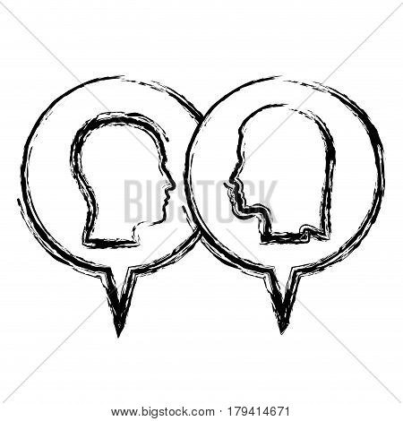 sketch monochrome with dialogue between man and woman vector illustration