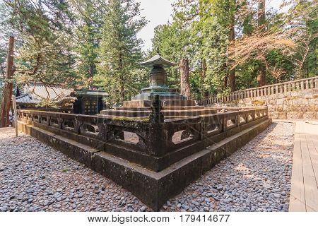 NIKKO JAPAN - APRIL 16 2014: The tomb with urn contains the remains of Tokugawa Ieyasu in Tosho-gu shrine