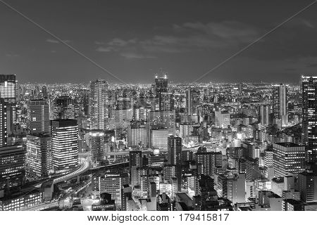 Black and White Osaka city night view from Umeda Sky building
