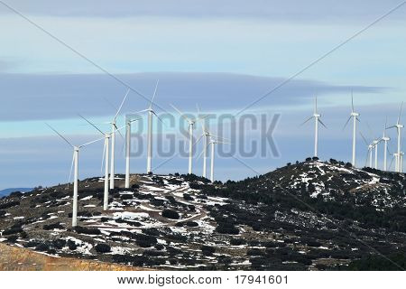 electric aerogenerator windmill snow winter mountain