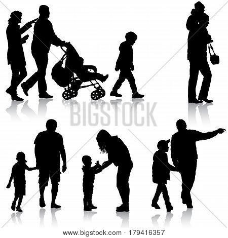 Set black silhouettes Family with pram on white background. Vector illustration.