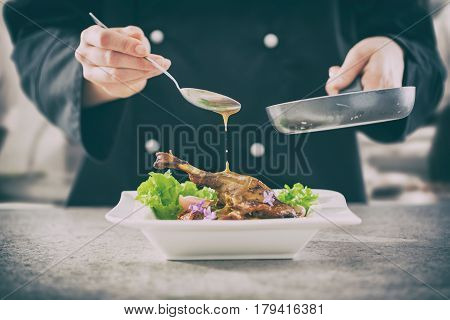 chef cooking restaurant food salad sauce gourmet molecular decorating kitchen dish garnish plate serving lunch top dinner concept