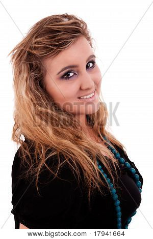 Beautiful And Large Young Woman Smiling , Isolated On White, Studio Shot