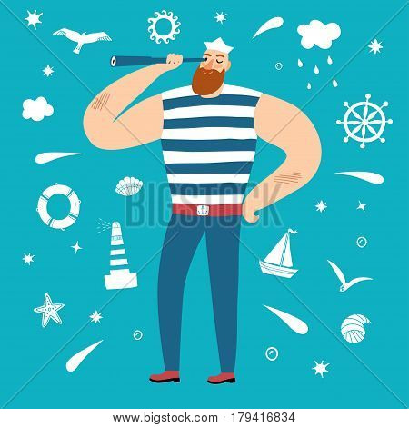 The mighty sailor with spyglass. Including decorative elements on background such as seagull lighthouse wheel ship cloud shellsun stars. Cartoon illustration for your design.