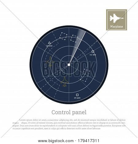 Military radar. Control panel for army aviation. Screen with map. Vector illustration