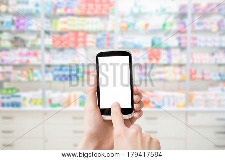 screen phone pharmacy smart hand blank mobile background white store medical business medicine shelf pharmacist blurred concept