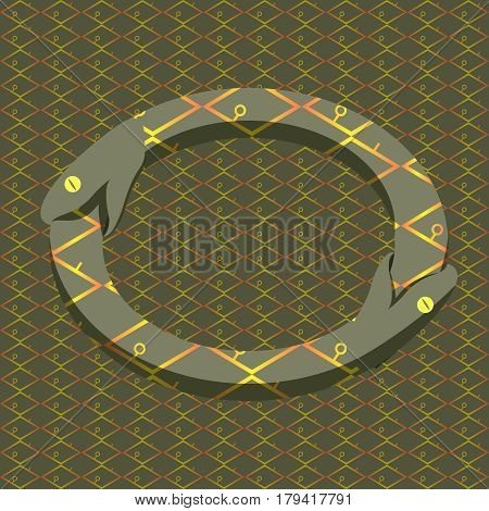 Vector snake in uroboros circle on the pattern.